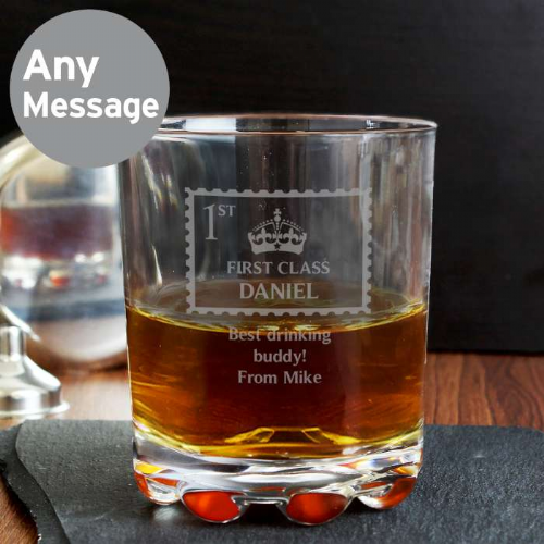 Personalised 1st Class Glass Tumbler